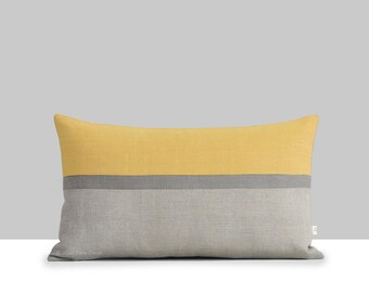 Ochre Linen Horizon Line Pillow Cover with Stone Grey & Natural Stripes by JillianReneDecor, Autumn Home Decor, Color Block, Squash Yellow