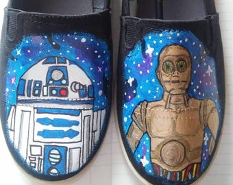 Star Wars R2D2 C3PO hand painted shoes