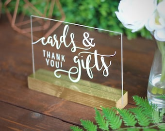 Cards and Gifts Acrylic Custom Sign / wedding / event sign / gold sign / handlettered