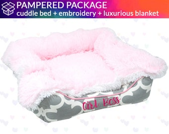 Cuddle Bed with Ultra Soft Blanket Blanket  |   Pink, White, Gray  | Washable, Design Your Own