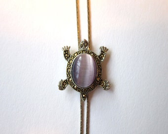 Vintage purple moonglow art glass turtle bolo - estate jewelry