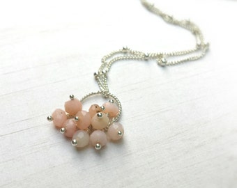 Pink Peruvian Opal Cluster Necklace: Genuine Pink Peruvian Opals on a Twisted Sterling Silver Pendant Sterling Silver Ball Chain Valentine