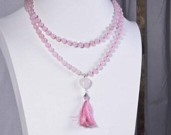 Mala beads 108 Rose Quartz Necklace Long Necklace  Rose Quartz Heart Necklace