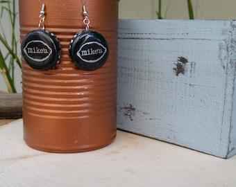 Mikes Hard Lemonade Cap Earrings - Black Cap Earrings - Beer Cap Earrings - Gift for beer lovers - Gift for bartenders - Fun Gifts - Earring