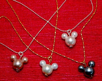 Pearl Mickey Mouse Necklace