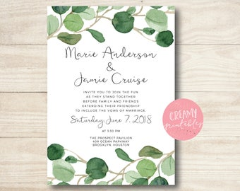 Rustic Wedding Invitation, Bridal Shower Invitation, Bridal Shower printable invite, Green Wedding Invitations, Eucalyptus