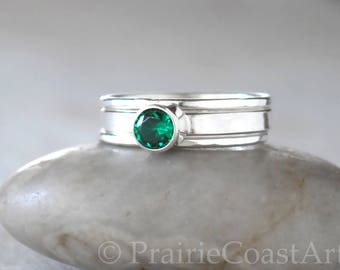 Emerald Ring Set in Sterling Silver -  Emerald Stacking Ring Set  - May Birthstone Emerald Ring