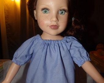 Peasant style blouse in lite blue for 18 inch Dolls - ag248