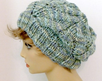 Mans or Womans Hand Knit Cable Slouch Hat Color Soft Light Blue and Green (H-101)