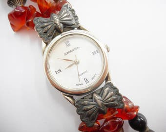 Sterling Silver Sundancer Mother Of Pearl Dial Faux Amber Watch Bracelet #2154