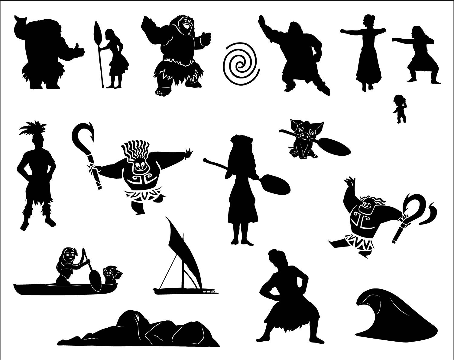 Moana maui svg silhouette disney picture stencil png for Maui tattoo stencil