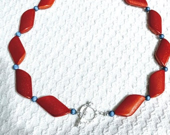 Blue and Orange Trapazoid Necklace