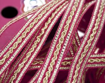 Pink Galon Cord Beige Lurex Golden 1,2 cm x 1 m