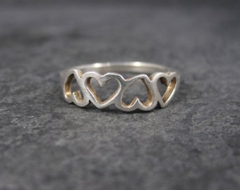 Vintage Sterling Heart Ring Size 8.75