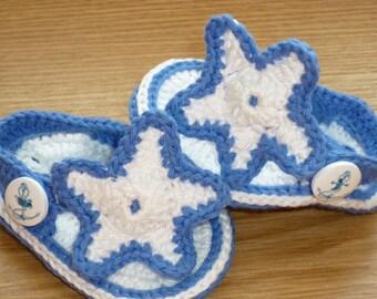 Sea star, Baby Shoes, handmade, Crochet Baby Flip Flops, Crochet Baby Sandals, Baby Girl Shoes, Baby Shoes, Baby boy Shoes