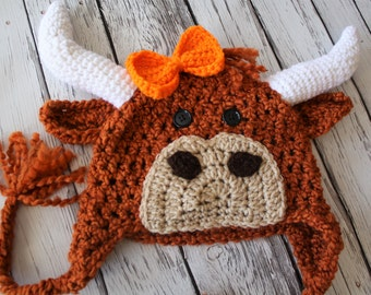 Longhorn Hat - Baby Longhorn Costume Hat - Longhorn Baby Hat - Baby Mascot Hats - Baby Longhorn Cow Hat - Baby Longhorn Mascot Hat - by J