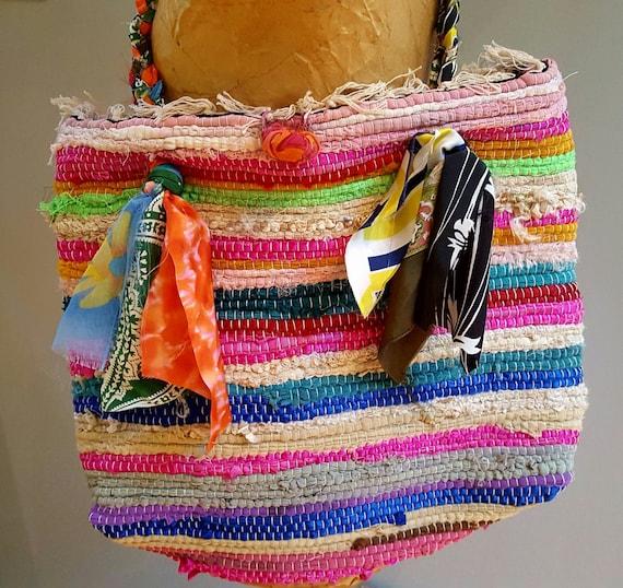 Rag Rug Bag Bohemian Bag Large Beach Tote Woven Purse Rug