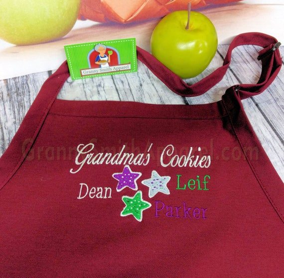 """Grandparent gift. 3 pocket CUSTOMIZED bib apron (24""""L x 28""""W). Will design your request. Great Thanksgiving or Christmas gift. Bow or not"""
