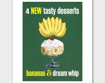 """Vintage Kitchen Art (1960s Cookbook Cooking Gift, Green Room Decor) """"Whipped Cream Dream Whip"""" --- Food Print"""