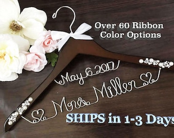 FAST SHIPPING Personalize Bridal Hanger, Wedding Gown Hanger, Name hanger, 30+ Ribbon Color to Choose from.