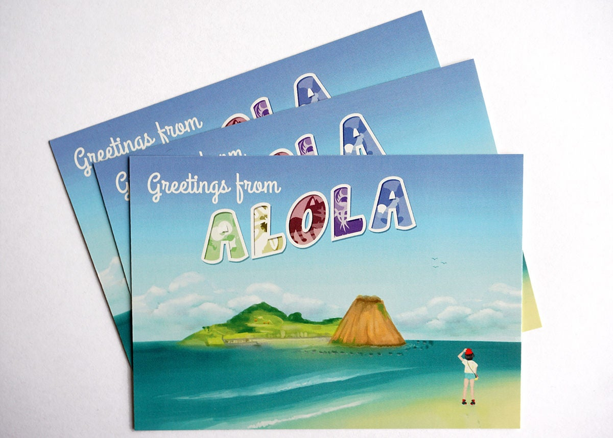 Greetings from alola pokemon sun moon inspired postcard zoom kristyandbryce Gallery