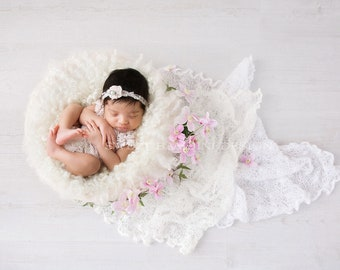 Newborn Photography Digital Backdrop for girls - Simple white nest with fresh pink clematis flowers and white lace blanket
