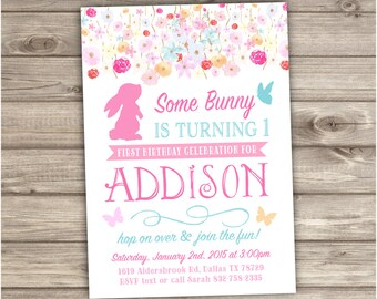 1st Birthday Invitations Some Bunny is turning one Spring Flowers Butterfly Invitations Bunny invitation Easter NV031