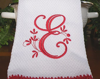Monogrammed Kitchen Towel, Monogrammed Dish Towel, Red Crocheted Edge Towel,