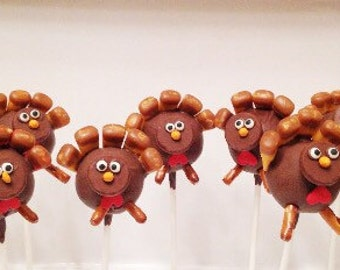 12 Gobble, Gobble cake pops, turkey cake pops, Thanksgiving, cake pops, autumn