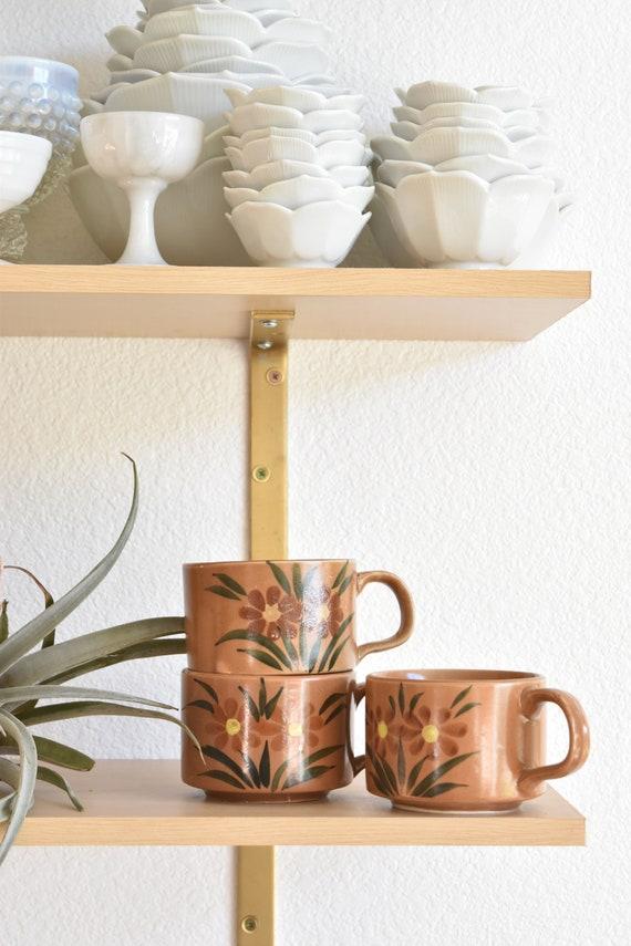 vintage set of 3 large soup bowls / coffee mugs / brown flower floral