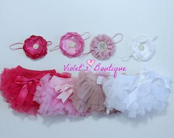 Baby girl bloomers and headband...newborn bloomers...tutu bloomers
