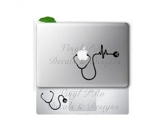 Nurse Stethoscope Doctor RN BSN Cardiology Heartbeat Medical Care EMT  Hospital Ekg Decal for Macbook