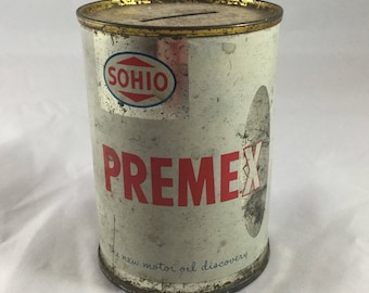 Vintage Sohio Premex Tin Bank, Vintage Advertising, Standard Oil of Ohio, Gas Station Decor