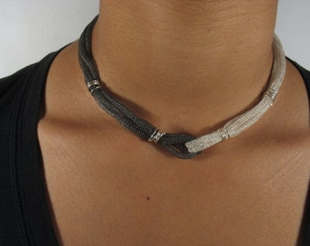 Silver mesh necklace-Embracing Necklace - mesh sterling silver chain partly oxidized.