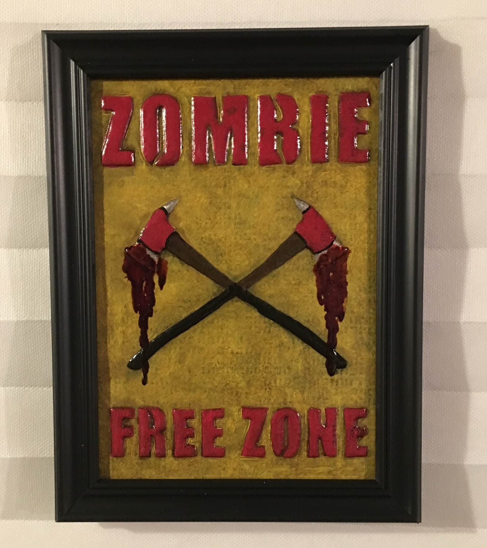 Zombie Free Zone Art Metal Wall Art Handmade Embossed
