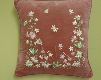 Pink Velvet Ribbon Embroidery Cushion Cover CU67