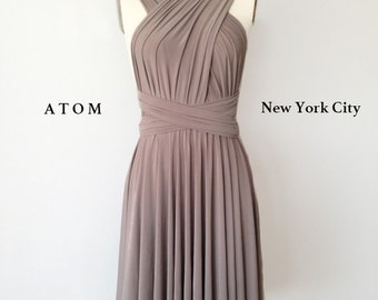 Taupe SHORT Infinity Dress Convertible Formal Multiway Wrap Dress Bridesmaid Dress Party Dress Cocktail Dress Evening Dress Wedding