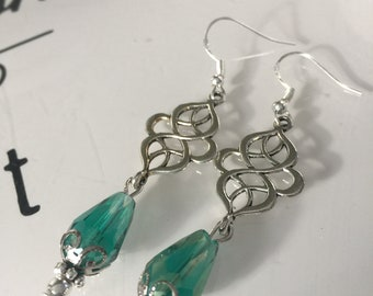 Celtic Jade Drop Earrings