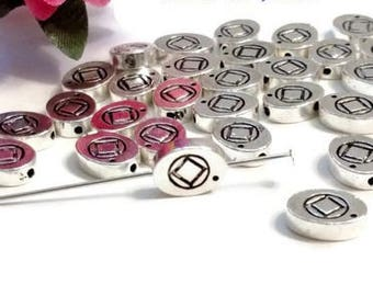 NA Slide Beads Silver Tone Charms - Narcotics Anonymous 12 Step Recovery