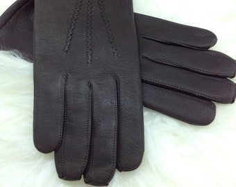 Genuine leather gloves, real leather gloves, black leather gloves, leather gloves, gift for him, genuine leather pelt, gloves for men.