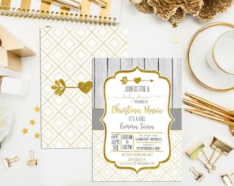 Tribal Aztec Arrow Baby Shower Invitations. Printable. Gray & Gold Shower Invites. Southwest Shower. Digital Printable Arrow Invitation