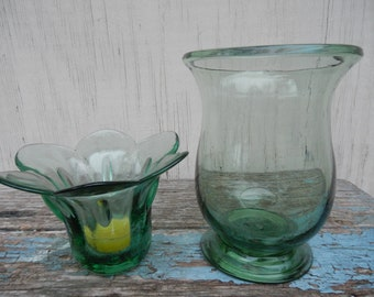 Handblown Seafoam Glass Patio Candle Holders!