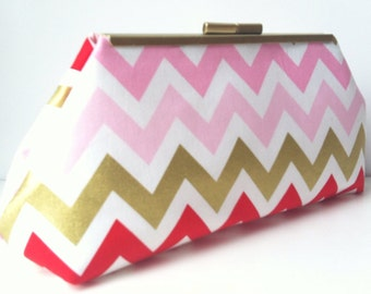 Metallic Chevron Clutch