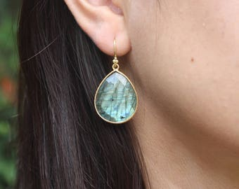 Labradorite Drop Earrings, Labradorite Gold Earrings, Teardrop Gold Earrings, Teardrop Labradorite Earrings, Big Drop Earrings, statement