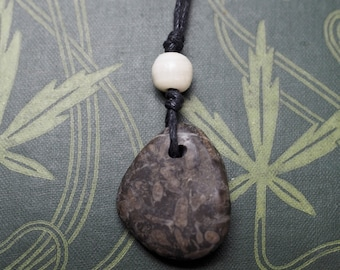 English Fossilised Coral pendant - Sea Priestess - Sea Magic - Pagan, Wicca, Witchcraft