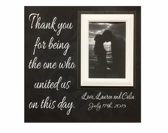 Wedding Officiant Gift ~ Custom Wedding Frame ~ Thank You Gift ~ Thank You For Marrying Us ~The One Who United Us ~Personalized Wedding Gift