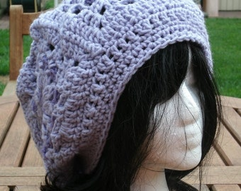 Hand Knit Hat, Crochet Womens Hat, Granny Square Slouchy, Womens Hat, Knit Accessories, Purple Slouchy Hat, Womens Slouchy Hat