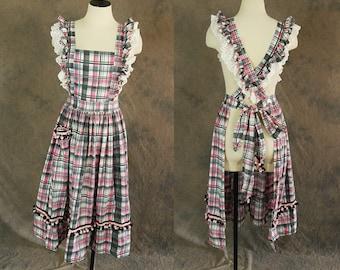 Clearance SALE vintage 40s Pinafore Apron - 1940s Ruffled Plaid Jumper Full Dress Apron Sz S M L