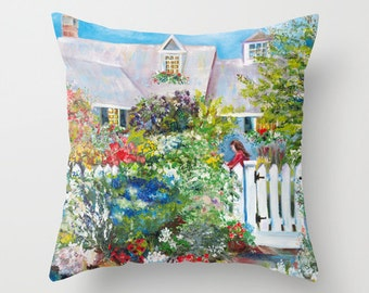 Indoor pillow cover with pillow insert, Indoor pillow cover, A Cottage of Abundance in Kennebunkport, Maine