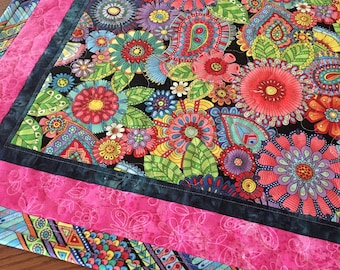 Quilted Table Topper, Bright Flowers Table Topper, Handmade Table Topper, Quilted Floral Tablecloth